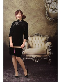 Black Three Quarter Sleeve Big Corolla Button Stunning Cheongsam Dress