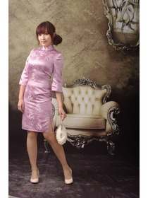 Pink-purple Phoenix Brocade 3/4 Sleeves Elegant Cheongsam