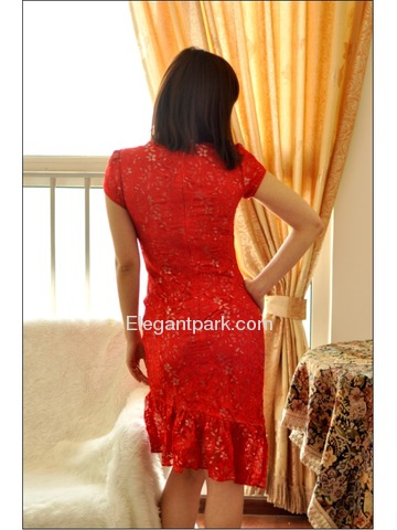 Red Short Sleeve Blossoming lace Asymmetric Improved Cheongsam/Chinese Dress