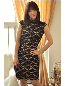 Black Drag Sleeve Knee-length Lace Improved Cheongsam