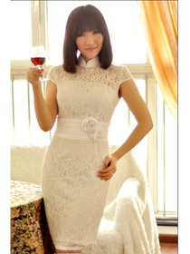 White Lace with White Satin Band Improved Cheongsam