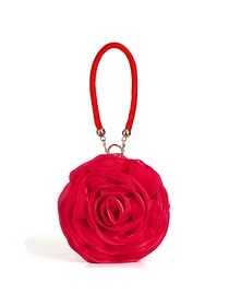 Gorgeous Flower Short Strap Satin Hand Bag