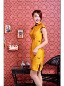 Yellow Drag Sleeve Stunning embroidered Silk Doupion Improved Cheongsam