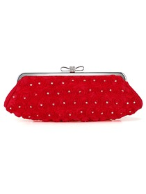 Elegant Red Satin Crystals Formal Evening/Wedding Party Handbag