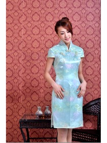 Light Sky Blue Cap Sleeve Luxurious knee length Improved Brocade Cheongsam Dress