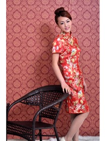 Red Short Sleeve Gourd Button Peony and Phoenix Brocade Improved Cheongsam Dress