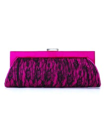 Modern Hot Pink Satin Lace Formal Evening/Wedding Party Handbag
