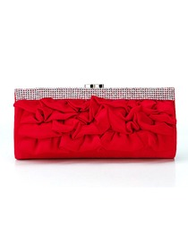Stylish Trendy Red Satin Formal Evening/Wedding Party Handbag
