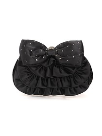 Elegant Black Satin Crystals Formal Evening/Wedding Party Handbag