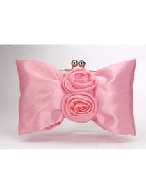 Elegant Pink Flowers Satin Wedding/Evening Party Handbag
