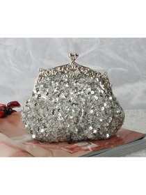 Shiny Silver Satin Beads Evening/Wedding Party Handbag
