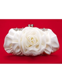 Pretty Flower Ivory Satin Graduation/Prom/Party Handbag