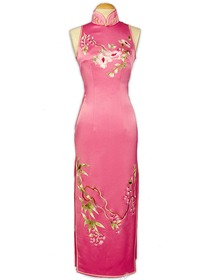 Rose Petal Silk Brocade Stunning Blooming floral embroidery Wedding Cheongsam