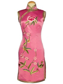 Rose Petal Knee-length Gourd Button Blooming Peony Embroidery Wedding Cheongsam