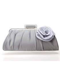 Pretty Silver Satin Evening Bag With Flower