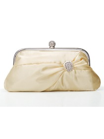 Beige Colorful Satin Reception Hand Bags With Decorations