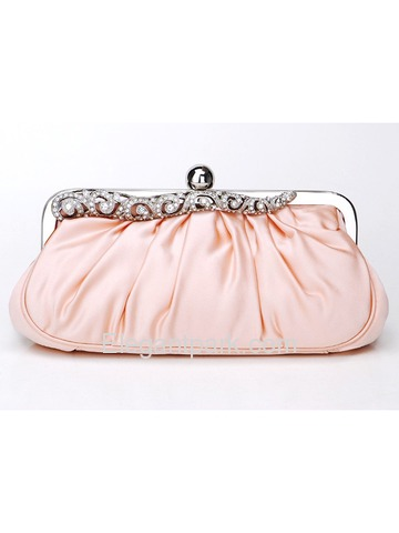 Pink Champagne Handmade Satin Handbags With Decorations