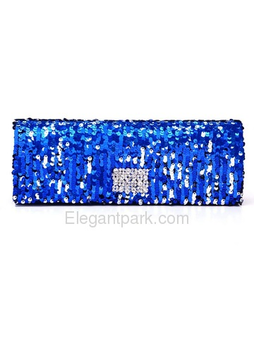 Colorful Blue Sequin Satin Evening Bags With Decorations