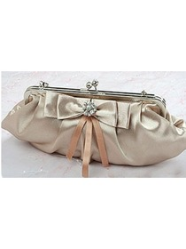 Stylish Champagne Clutches Bag With Decorations