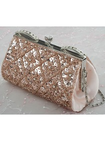 Stylish Champagne Satin And Sequin Clutches Evening Bags With Beads
