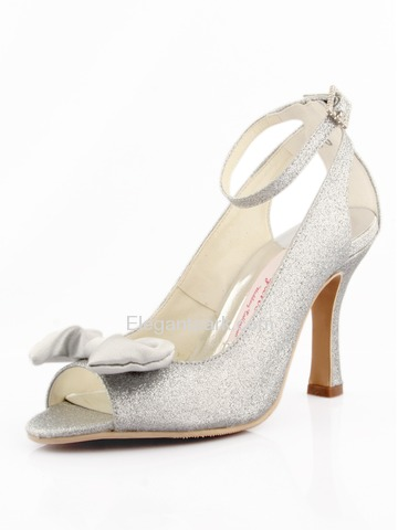 Elegantpark Silver Peep Toe Stiletto Heel Glitter Evening & Party Shoes (EL-040)