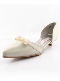 Elegantpark Ivory Pointy Toes Low Heel Satin Shoes