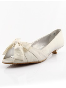 Elegantpark Ivory Peep Toe Low Heel Satin Shoes