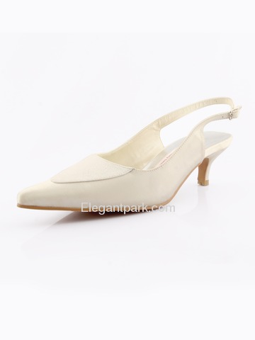 Elegantpark Satin Upper Slingback Low Heel Buckle Modern Wedding/Evening Shoes More Colors Available (A2067-P)