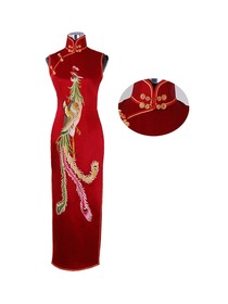 Red sleeveless hand embroidery pheonix cheongsam dress