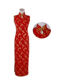 Mandarin Collar Ankle-length Butterly in Floral Patterns Silk Crepe Satin Cheongsam