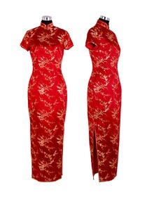Mandarin Collar Ankle-length Plum Blossom Patterns Silk Brocade Cheongsam