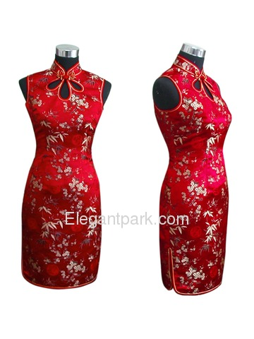 Short Mandarin Collar Silk Brocade Cheongsam