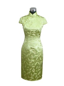 Mandarin Collar Single-line Knee-length Silk Brocade Cheongsam