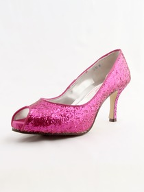Elegantpark Hot Pink Modern Peep Toe Platform Stiletto Heel Glitter PU Shoes