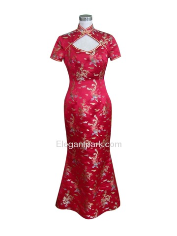 Mandarin Collar Three-ear Button Dragon&Phoenix Fishtail Silk Brocade Cheongsam
