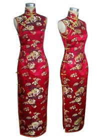 Mandarin Collar Single-line Button Peony Silk Brocade Chinese Cheongsam