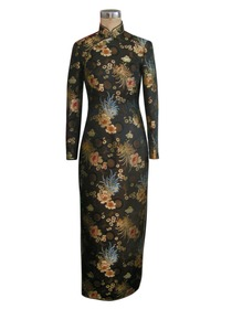 Mandarin Collar Butterfly Button Long Sleeve Silk Brocade Chinese Cheongsam