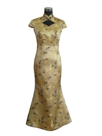 Mandarin Collar Three-ear Button Floor-length Silk Brocade Cheongsam
