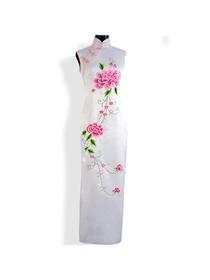 Mandarin Collar Chrysanthemum Button Ankle-length Silk Brocade Embroidery Cheongsam