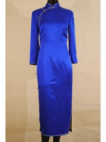 Mandarin Collar Single-line Button Long Sleeve Ankle-length Silk Brocade Normal Cheongsam