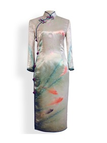 Excellent Goldfish Silk Crep Satin Long Sleeve Cheongsam Dress