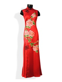 Red Silk Crep Satom Cap Sleeve With Peony Embroidery Cheongsam Dress