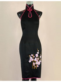 Black Silk Brocade With Plum Blossom Embroidery Cheongsam Dress
