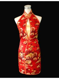 Mandarin Collar Frog Button Knee-length Silk Brocade Improved Cheongsam