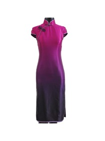 Gradient Silk Crepe Satin Cap Sleeve Cheongsam Dress