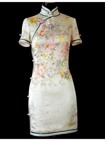 Floral Silk Crep Satin Short Sleeves Cheongsam Dress