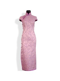 Elegant Silk Brocade Cap Sleeve Cheongsam Dress
