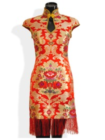 Mandarin Collar Cap Sleeve Ankle-length Silk Brocade Improved Chinese Cheongsam