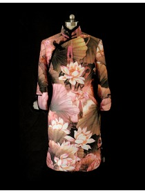 Mandarin Collar Long Sleeve Knee-length Silk Brocade Chinese Cheongsam