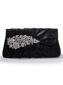Black Snap Closure PU Evening Bag